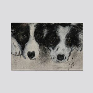 Border Collie Dog Art Rectangle Magnet