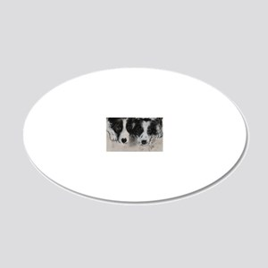 Border Collie Dog Art 20x12 Oval Wall Decal