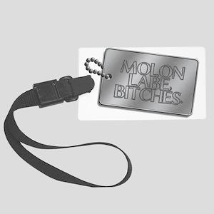 Molon Labe, bitches dog tag Large Luggage Tag