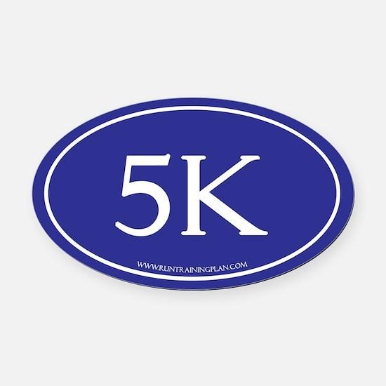 5K Running Achievement Blue Oval Car Magnet