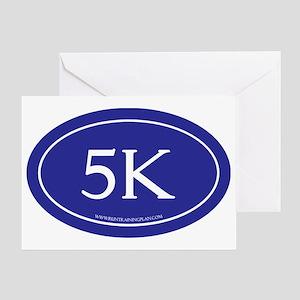 5K Running Achievement Blue Greeting Card