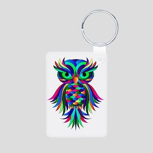 Owl Design Aluminum Photo Keychain