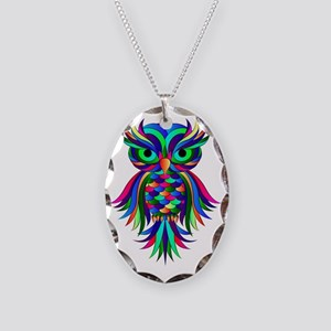 Owl Design Necklace Oval Charm