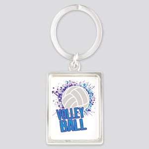 Volleyball Splatter Portrait Keychain