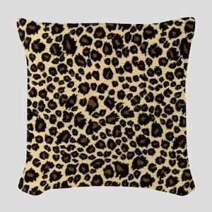 Leopard Print Woven Throw Pillow
