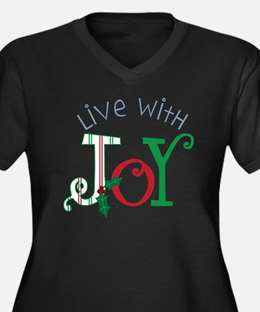 Live With Jo Women's Plus Size Dark V-Neck T-Shirt