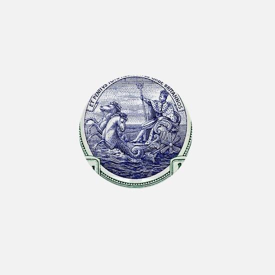 1916 Barbados Neptune Postage Stamp Mini Button
