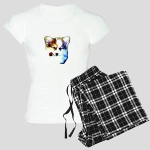 Fluffy Corgi with Rose in M Women's Light Pajamas