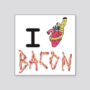 """I Heart Attack Bacon Square Sticker 3"""" x 3"""""""