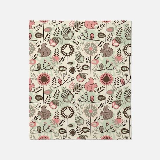 Squirrel Pattern Throw Blanket
