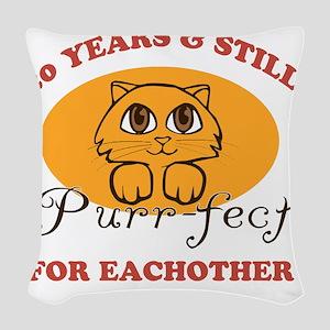20th Purr-fect Anniversary Woven Throw Pillow