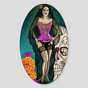 Latina Muertos Pin-up in Long Black Sticker (Oval)