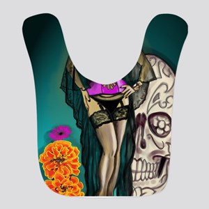 Latina Muertos Pin-up in Long Black Veil Bib
