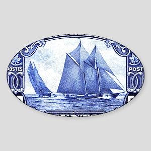 1929 Canada Bluenose Schooner Posta Sticker (Oval)