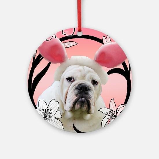 Bulldog Easter Round Ornament