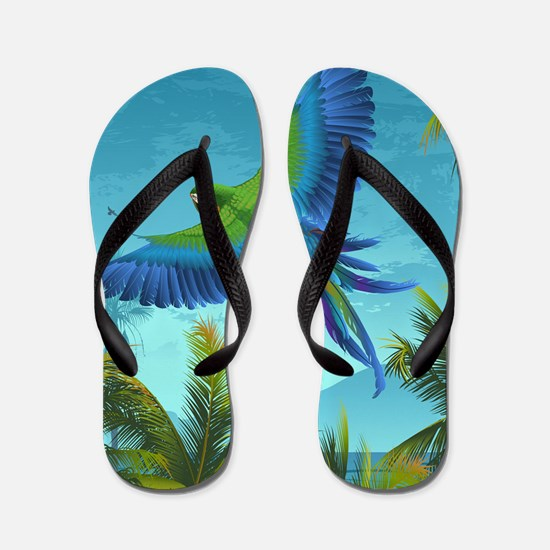 Tropical Bird Flip Flops