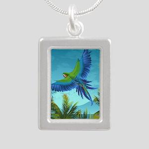 Tropical Bird Silver Portrait Necklace