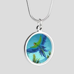 Tropical Bird Silver Round Necklace