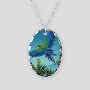 Tropical Bird Necklace Oval Charm