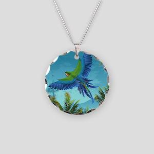 Tropical Bird Necklace Circle Charm