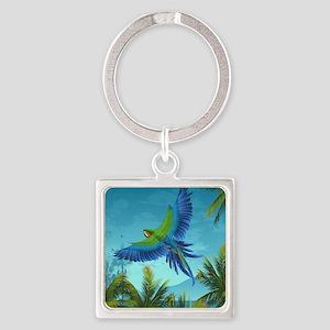 Tropical Bird Square Keychain