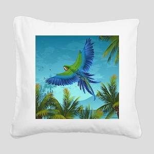 Tropical Bird Square Canvas Pillow