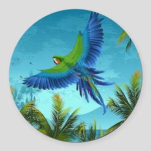 Tropical Bird Round Car Magnet