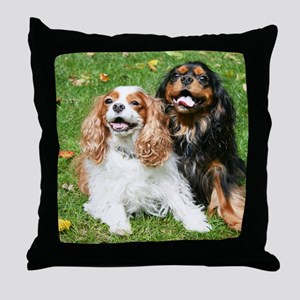 Happy Cavalier King Charles Spaniels  Throw Pillow