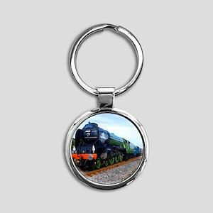 Flying Scotsman - Steam Train Round Keychain