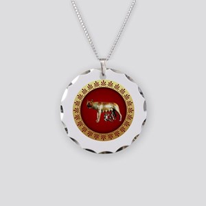 Roman design Necklace Circle Charm