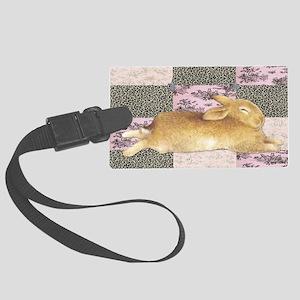 Sleepy Bunny Elongated Large Luggage Tag