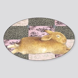 Sleepy Bunny Elongated Sticker (Oval)