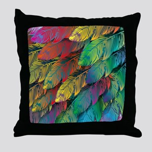 Parrot Feathers Throw Pillow