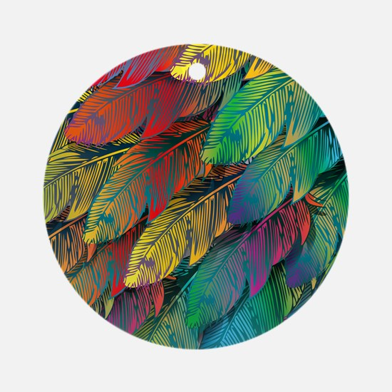 Parrot Feathers Round Ornament