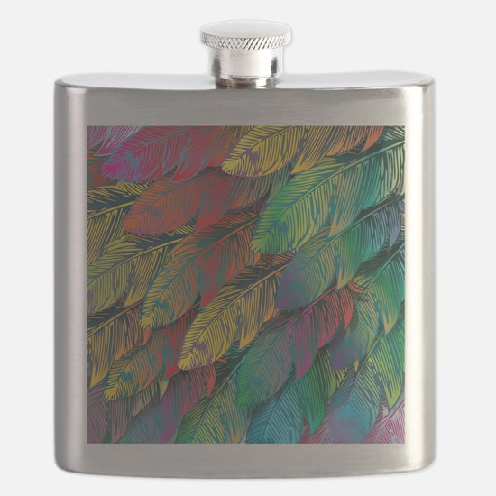 Parrot Feathers Flask