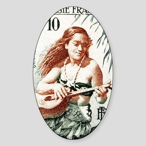 1958 French Polynesia Guitar Girl P Sticker (Oval)