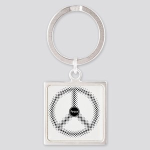 Peace / Paz / Frieden / Pax  (blac Square Keychain