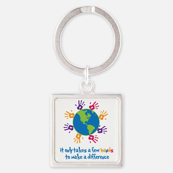 Make A Difference Square Keychain