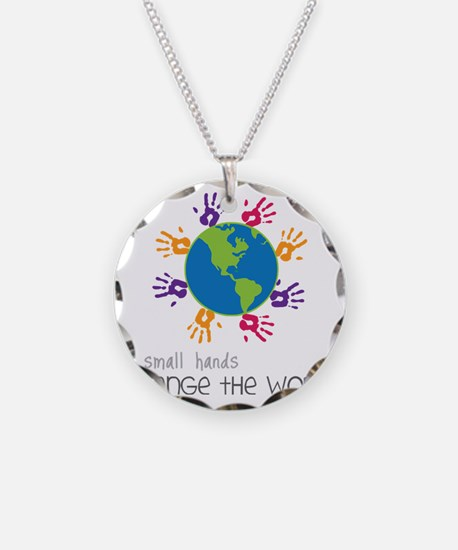 Small Hands Necklace Circle Charm