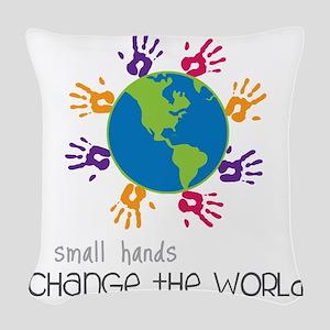 Small Hands Woven Throw Pillow
