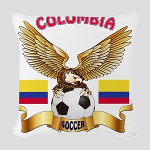 Colombia Football Designs Woven Throw Pillow