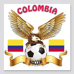 "Colombia Football Design Square Car Magnet 3"" x 3"""