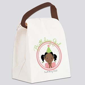 Bday Girl Pink Canvas Lunch Bag