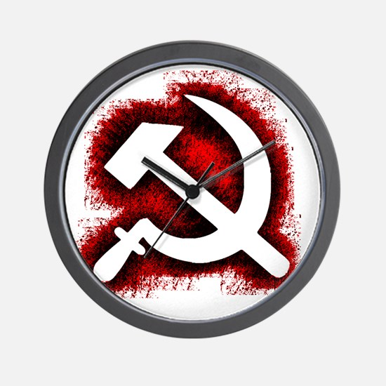 Hammer and Sickle Black Splatter Red Ou Wall Clock