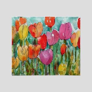 Tulip Trouble Throw Blanket