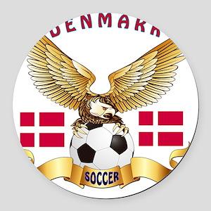 Denmark Football Designs Round Car Magnet