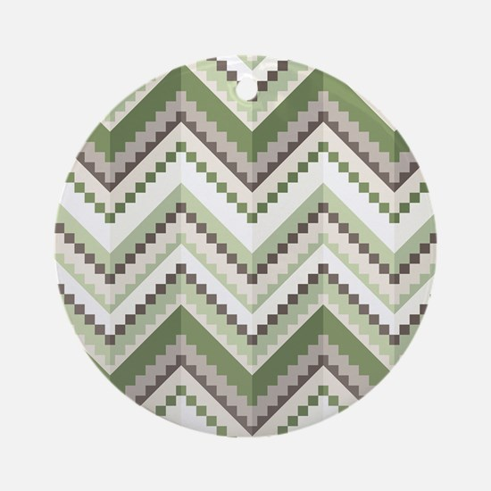 Green Native Pattern Round Ornament