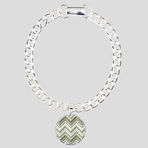 Green Native Pattern Charm Bracelet, One Charm