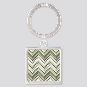 Green Native Pattern Square Keychain