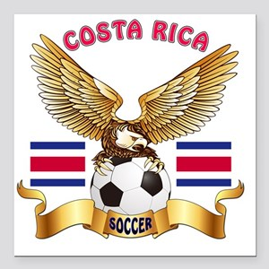 "Costa Rica Football Desi Square Car Magnet 3"" x 3"""